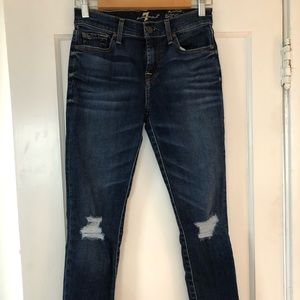 7 for All Mankind the ankle skinny jeans, size 25